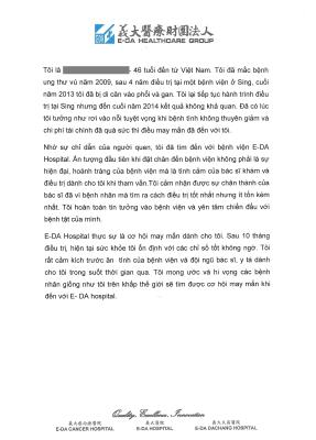 A Thank-you Letter from Vietnamese Patient with Breast Cancer
